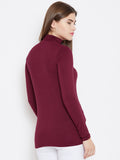 Maroon Choker Neck Full Sleeve Top