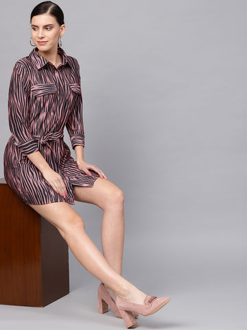 Dusky Pink Zebra Print Mini Dress