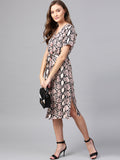 Blush Snake Print Button Down Dress