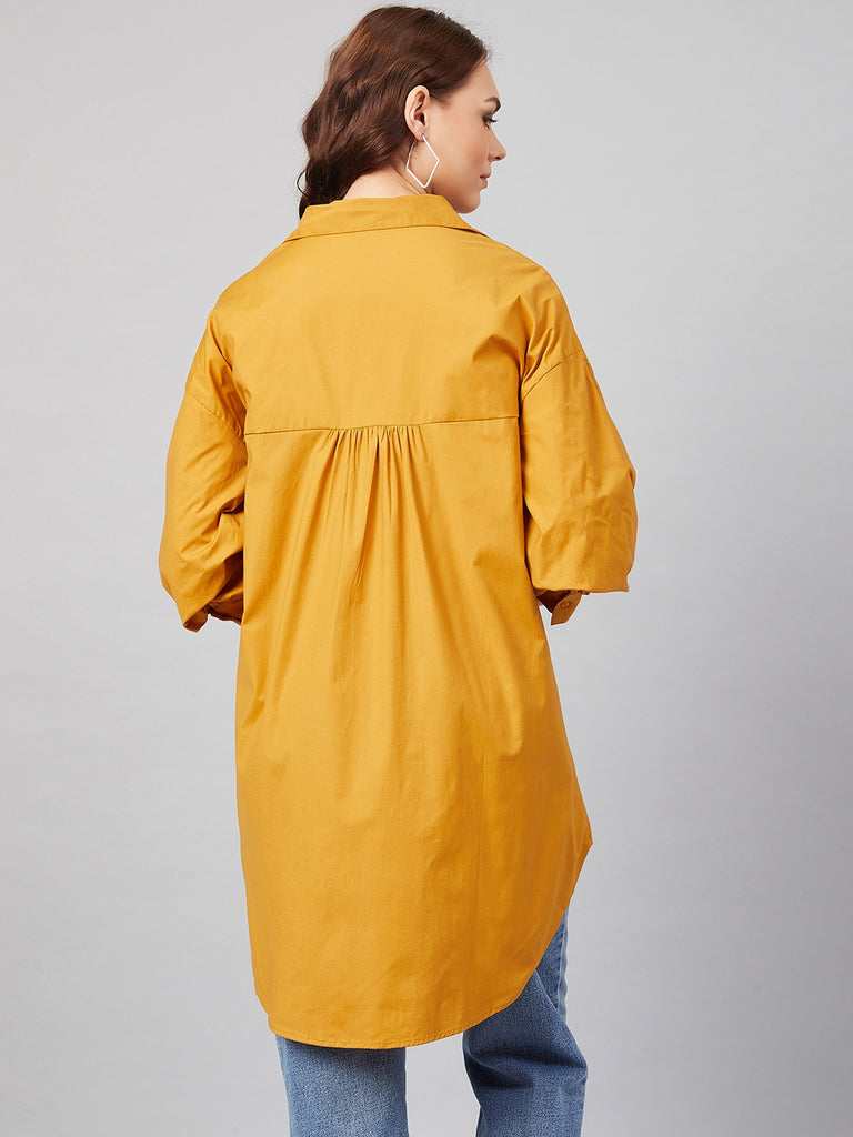 Mustard Cotton Oversized Hi-Low Shirt