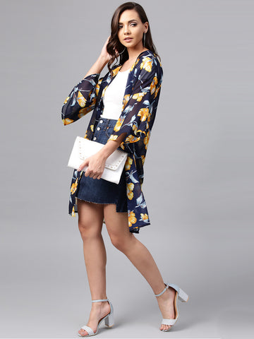 Navy Printed Coverup