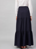 Navy Tiered Maxi Skirt