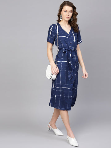 Navy Check Print Button Down Dress