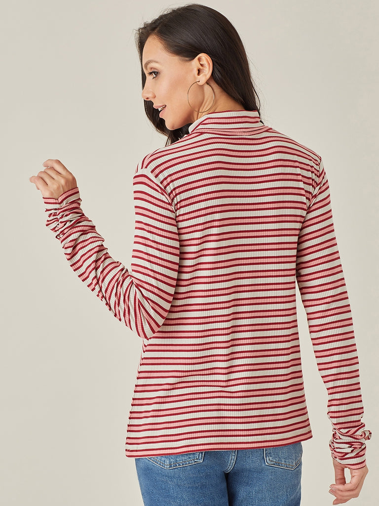 Pink Stripe Turtle Neck Top
