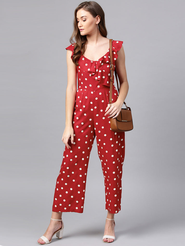 Red Polka Dot Ruffle Jumpsuit