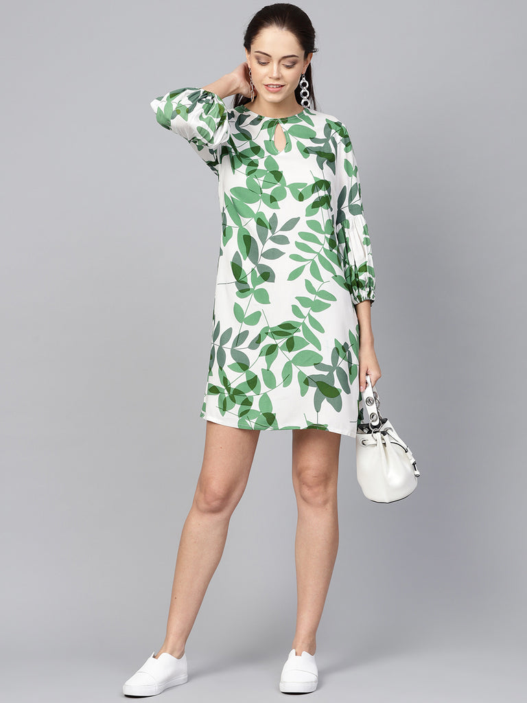 White leaf print shift dress