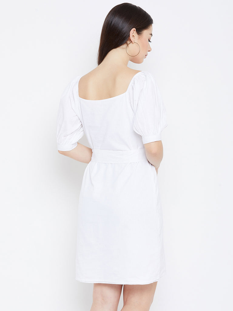 WHITE COTTON LINEN SHIFT DRESS