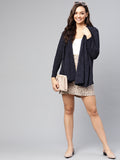 Navy Melange knit waterfall shrug