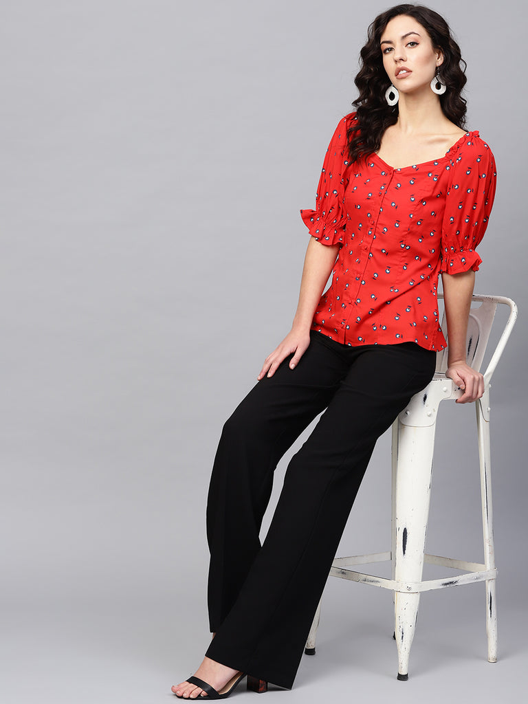 Red Print Puffed Sleeve Top