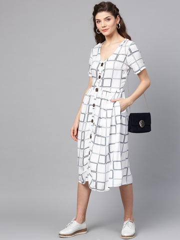 Window pane print button down dress