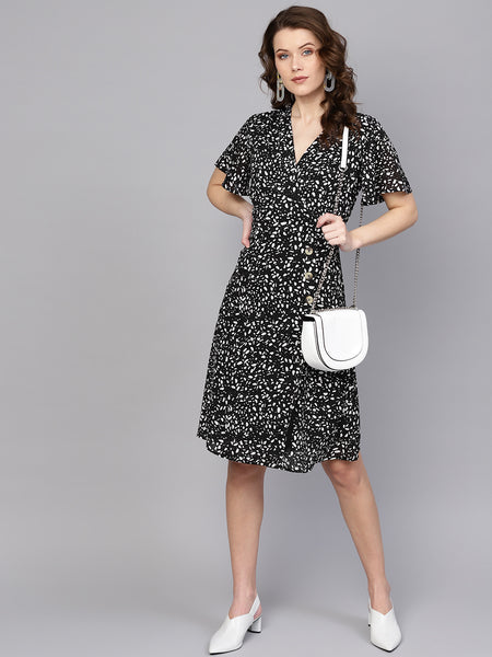 Black Dots & Flakes Button Detail Dress