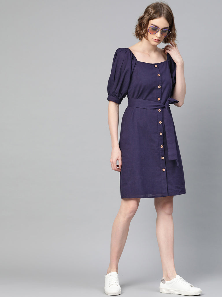 Navy Cotton Button Down Shift Dress