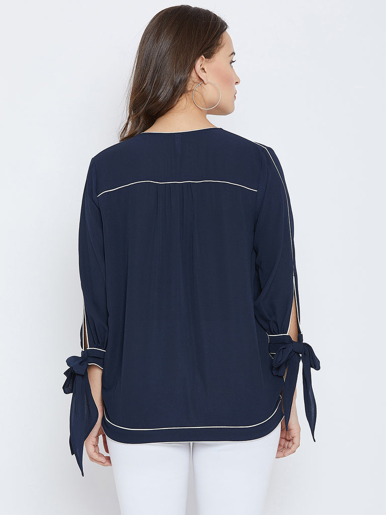 Navy piping detail wrap top
