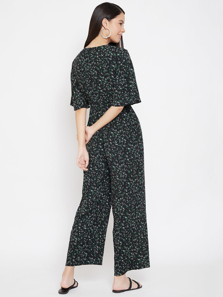 Black ditsy leaf printed wrap jumpsuit
