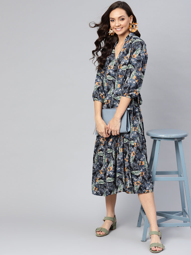Black Tropical Ruffled Wrap Midi Dress