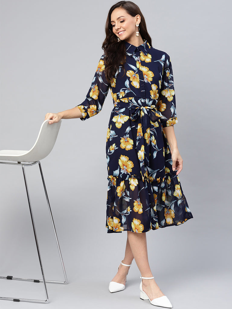 Navy Yellow Floral Ruffled Up Midi Dress