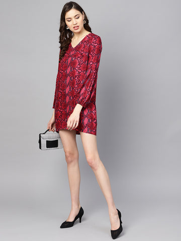 Dark Snake Print Flounce Sleeve Dress