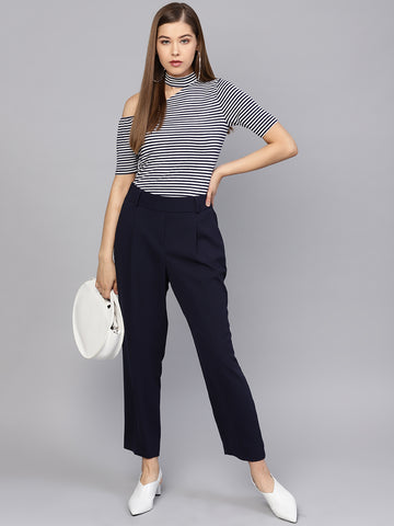 Navy Stripes One Shoulder Choker Top