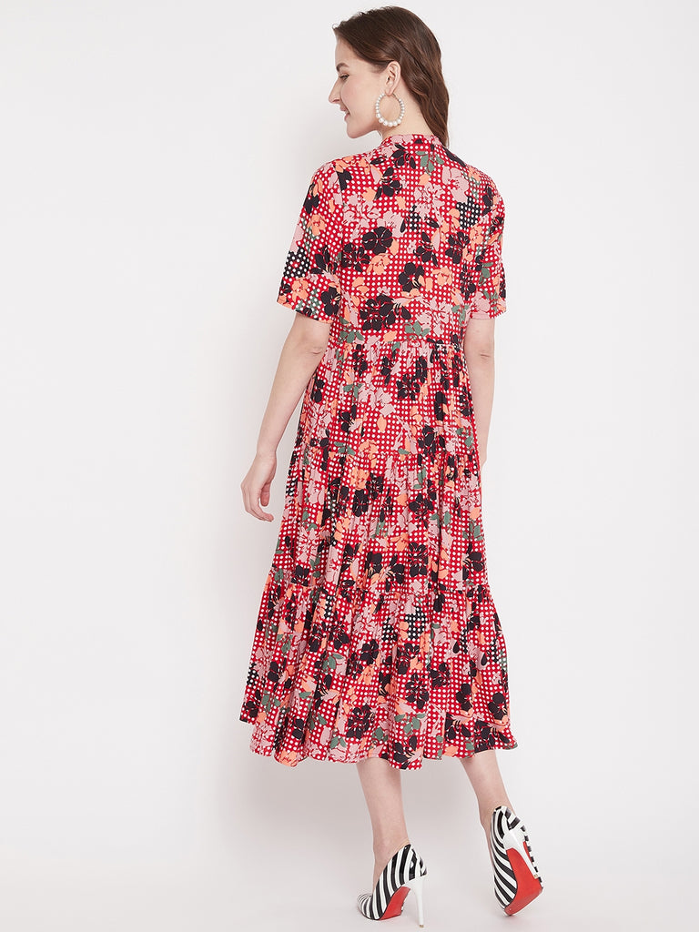 Red floral button down tier midi dress