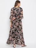 Black Floral Printed Chiffon Maxi Dress