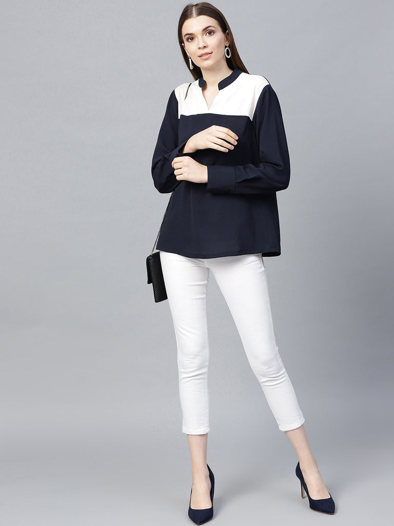 Navy White Color Blocked Top