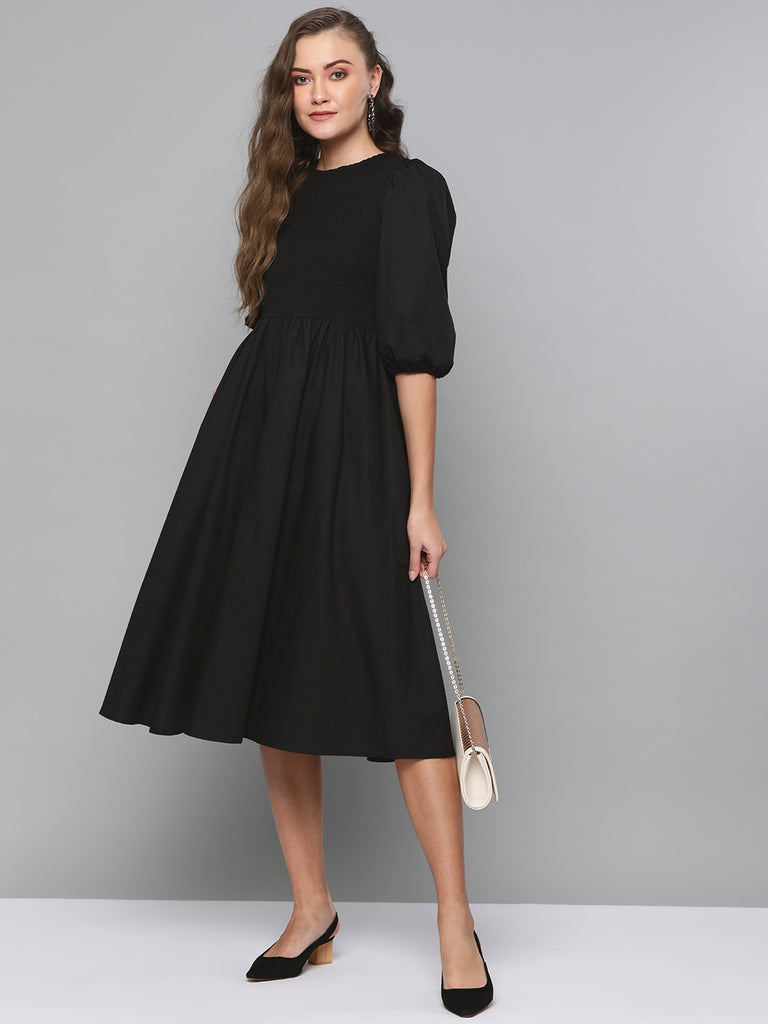 Black Cotton Smocked Midi Dress