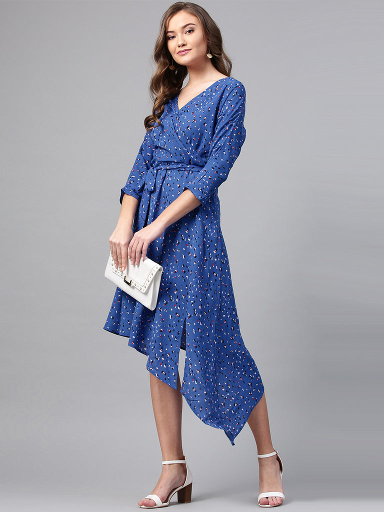 Navy Ditsy Printed Assymetric Dress