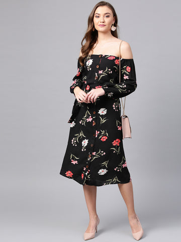 Black Botanical Off-shoulder Dress