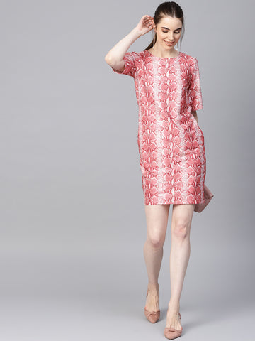 Blush Snake Printed shift Dress