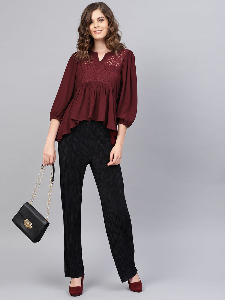 Wine Flowy Lace Cutout Top