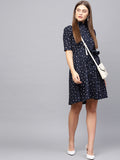 Navy Polka Flared Hem Midi Dress