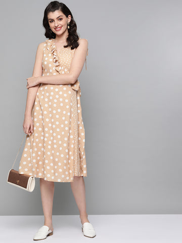 Beige Polka Tieups Midi Dress
