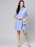 Blue Chambray Eyelet Detail Shift