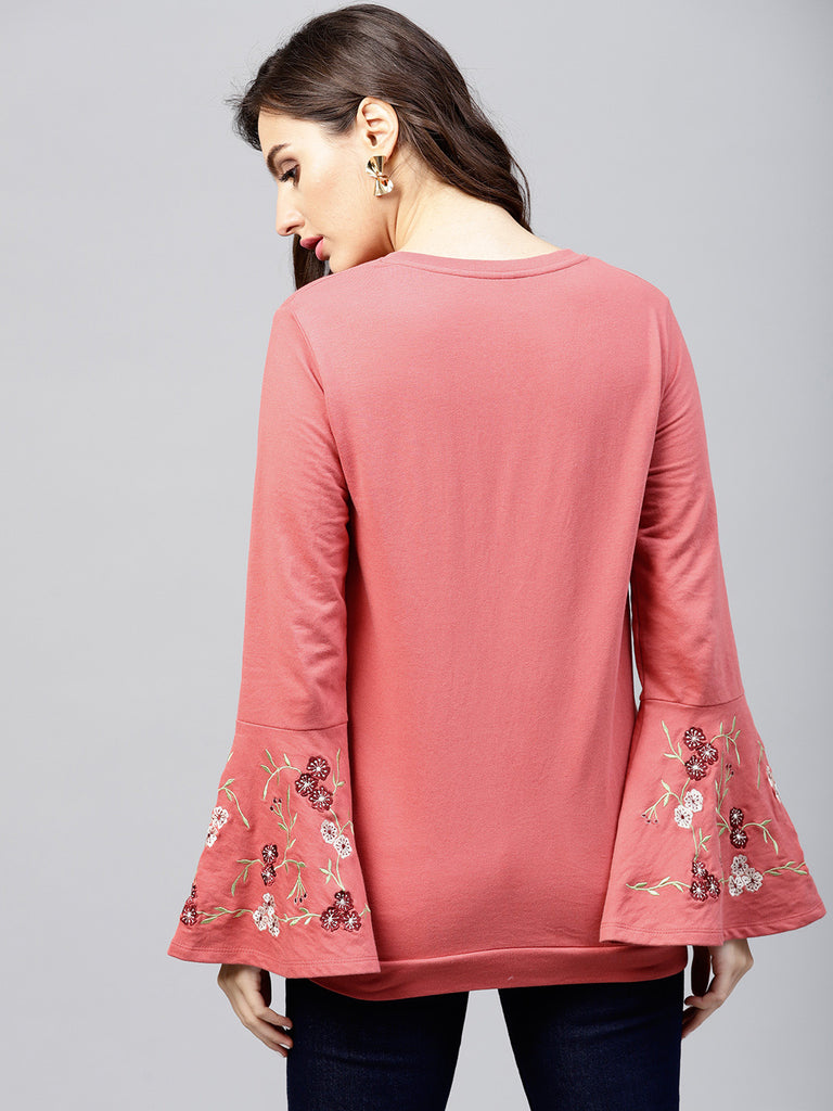 Blush Embroidered Bell Sleeve Sweatshirt