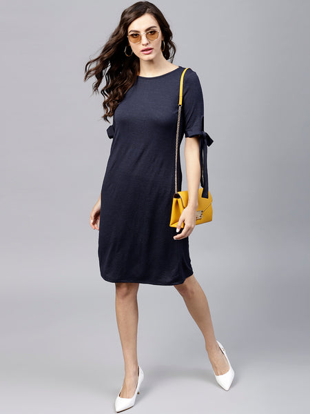 Navy Tie Up Mini Shift Dress