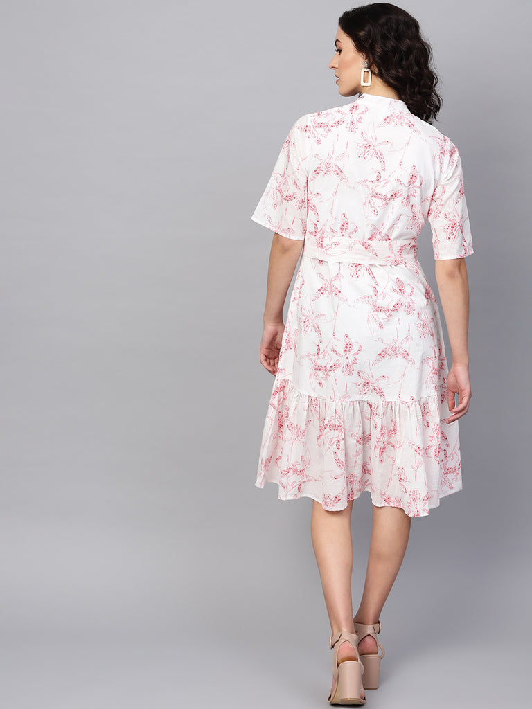 White/Red Print Ruffle Hem Midi Dress