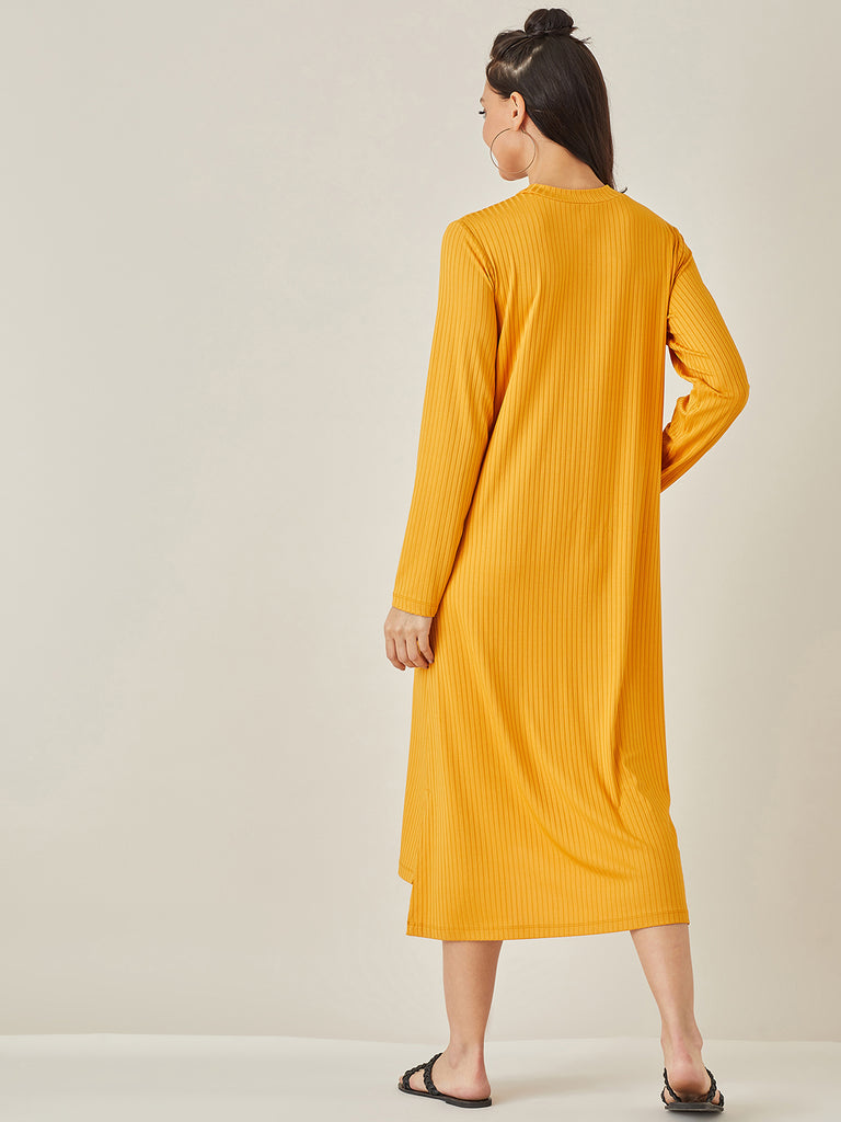Mustard Ribbed Jersey T Shirt Dress
