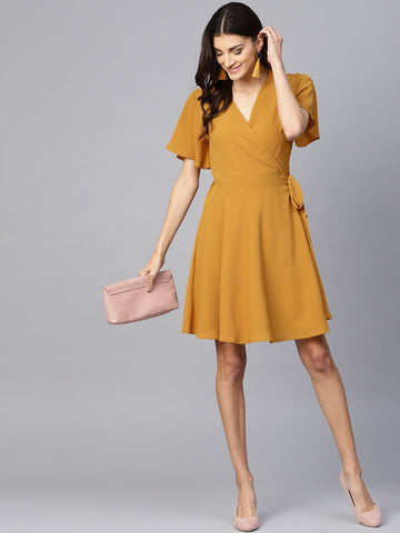 Mustard Flare Wrap Mini Dress