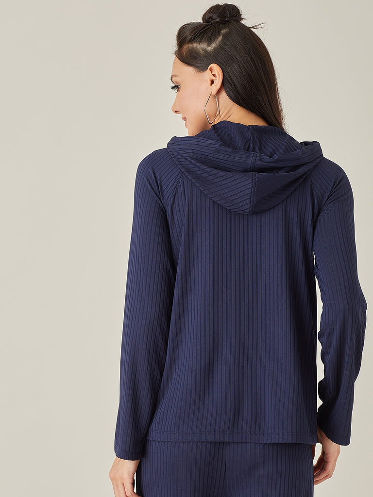 Navy Blue Ribbed Hoodie Pullover