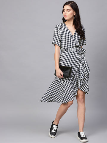 Blue gingham Wrap midi dress