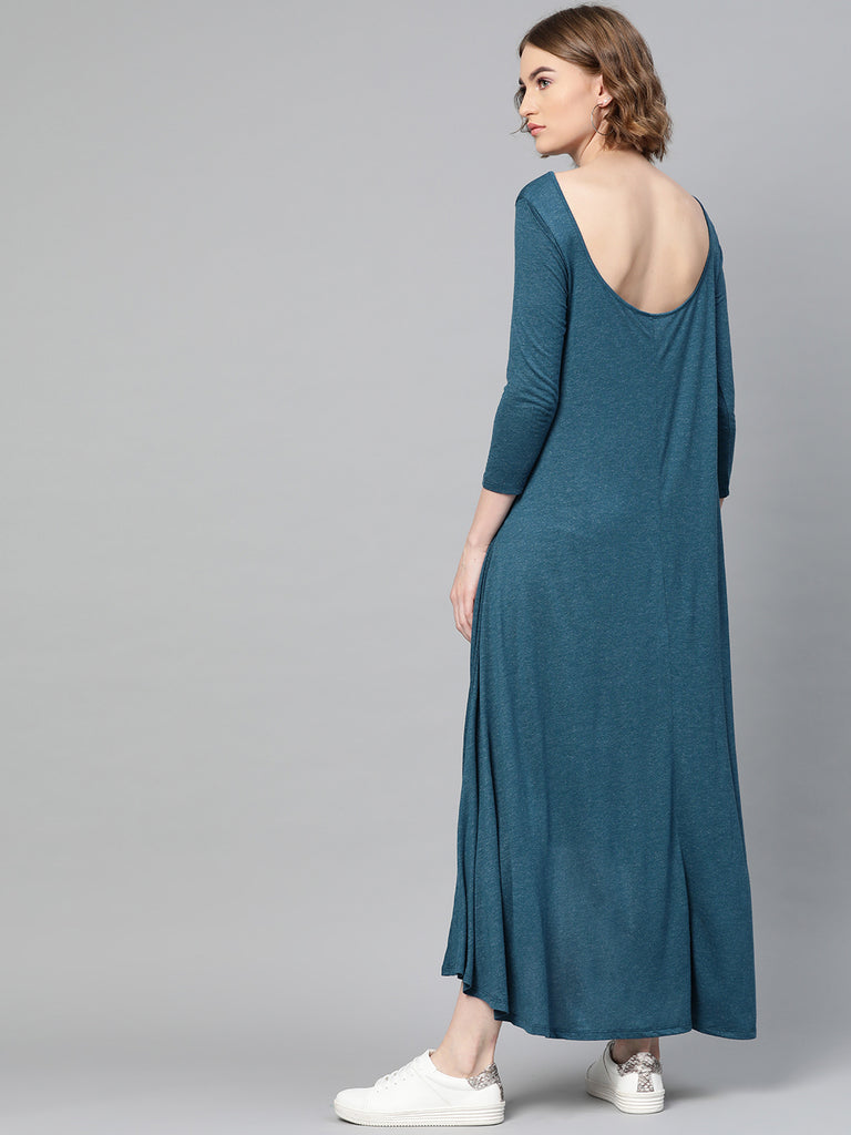 Teal Deep Back Flared Maxi Dress