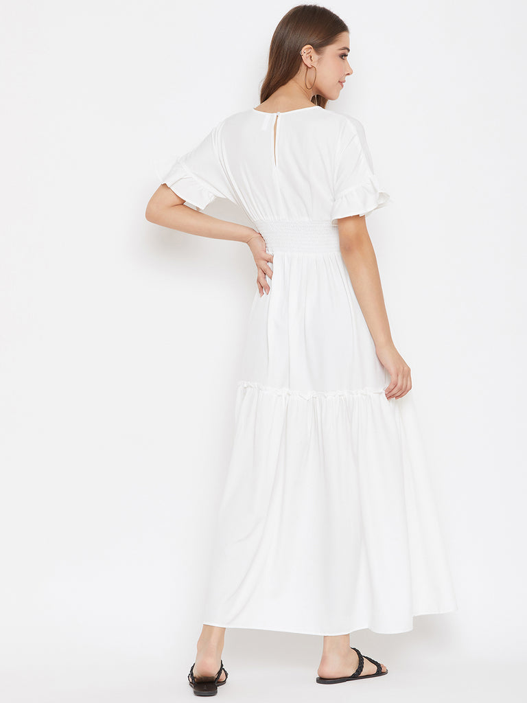 White Smocked V Neck Maxi Dress