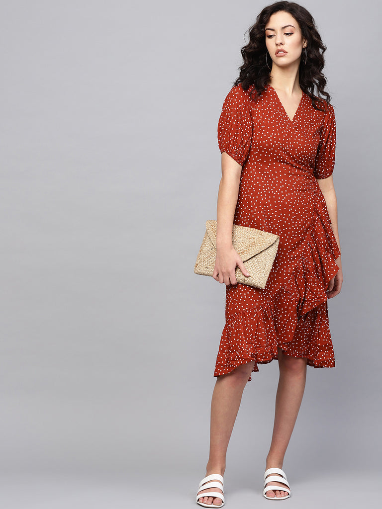 Rust Ditsy Polka Ruffle Midi Dress