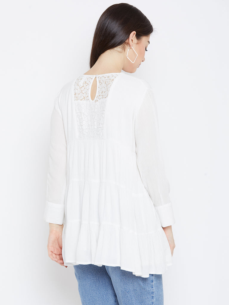 White Tiered Lace Detail Top
