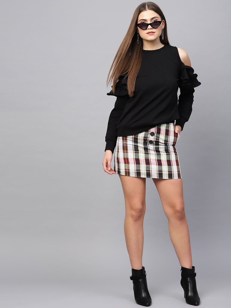 Black Cold Shoulder Ruffle Sweatshirt