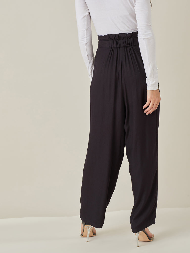 Black High Waisted Twill Pants