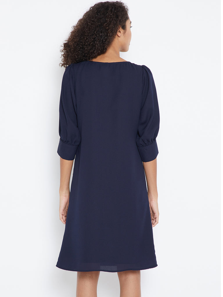 Navy embroidered puffed sleeve dress