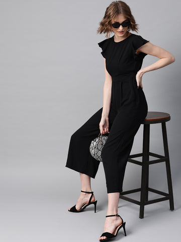 Black Ruffled Up Cutout Jumpsuit