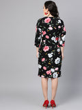 Black Big Floral wrap midi Dress