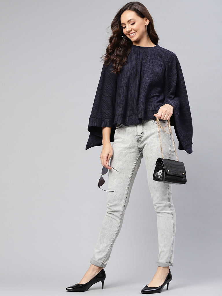 Navy Melange Curved Hem Poncho Top